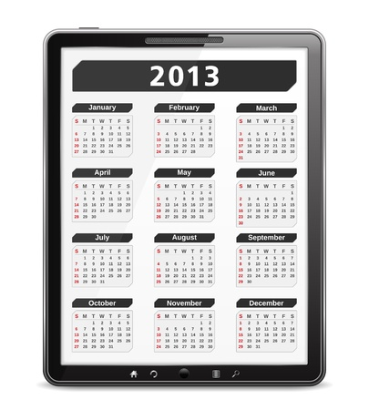 2013 calendar on the screen of tablet computer Stock Vector - 16613268