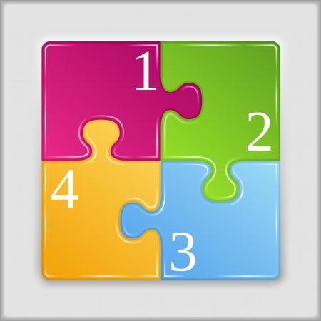 piezas de puzzle: Square hecha de piezas de rompecabezas con los números Vectores