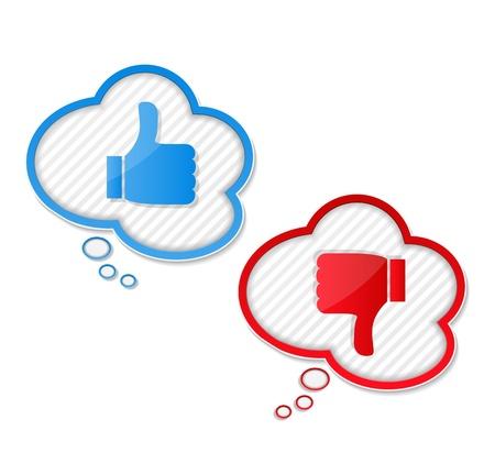 Balões de fala com os polegares para cima e os polegares para baixo símbolos Ilustração