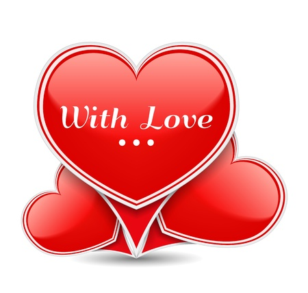 With Love, Banner with three red hearts Vector