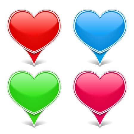 Set of color hearts Vector