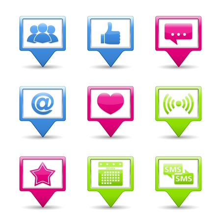 Set of buttons with social media icons Stock Vector - 16759989