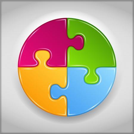 piezas de puzzle: Círculo abstracto hecho de piezas de rompecabezas Vectores