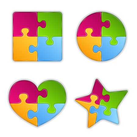 puzzle: Abstract puzzle objects Illustration