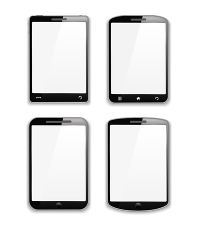 Set of four modern black smartphones Vector