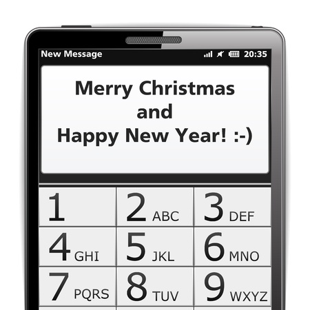 Modern smart phone with Merry Christmas SMS Stock Vector - 16759992