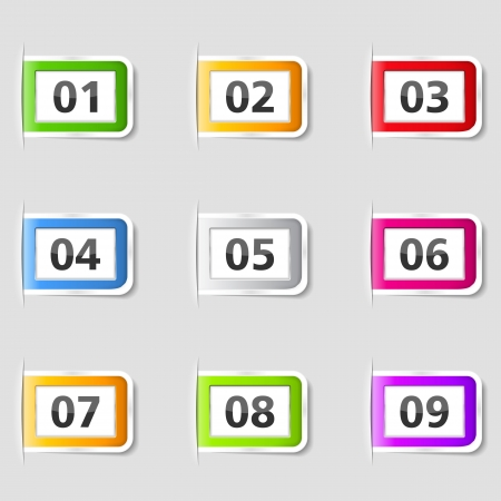 Tabs with numbers Stock Vector - 16760011
