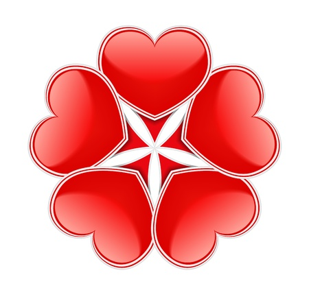 Abstract circle made of red hearts Vector