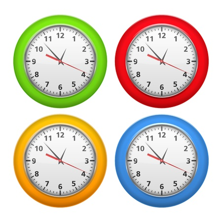object with face: Set of color clocks Illustration