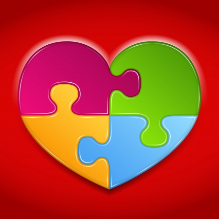Abstract heart made of puzzle pieces Vector
