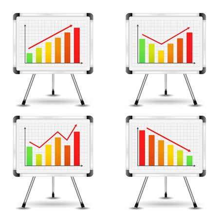 Flip charts with different bar graphs Vector