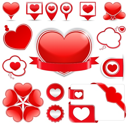 Set of different design elements with hearts Vector