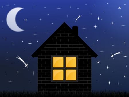 stellate: Night sky and house Illustration