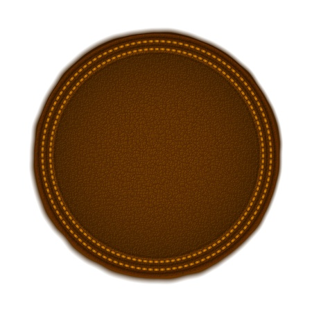 leather stitch: Round Leather Badge