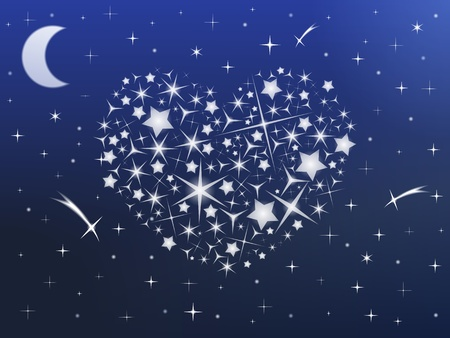 fall in love: Heart made of stars in the night sky