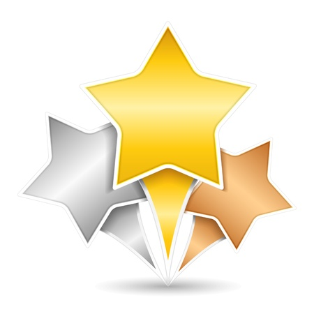star map: Golden, silver and bronze stars
