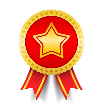 Golden medal with star Vector