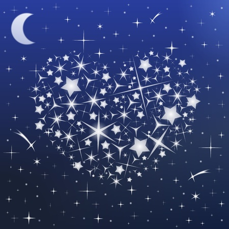 Heart made of stars in the night sky Stock Vector - 17149918