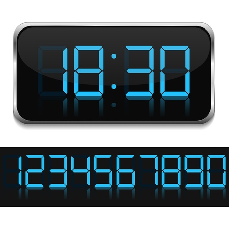 digital numbers: Blue digital clock