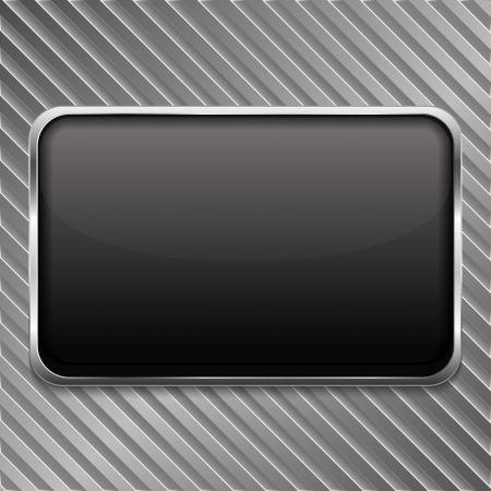 black textured background: Metal frame on a striped background Illustration