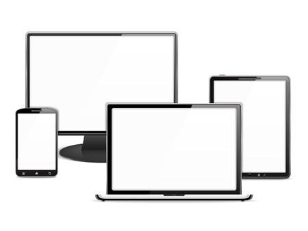 Computer monitor, laptop, tablet pc and smart phone, each device has a white blank screen