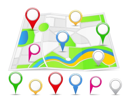 Abstract map with different map pins Vector