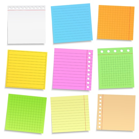 postit note: Set of different colored paper