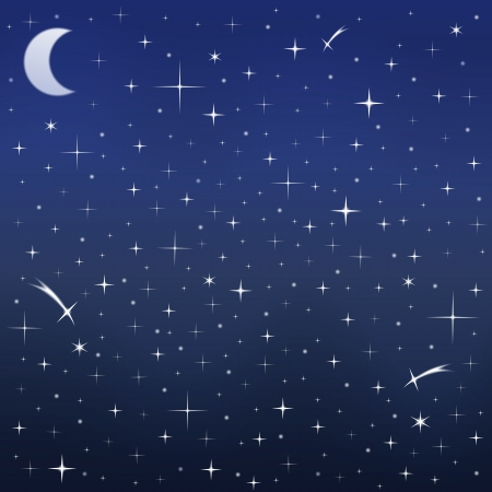 Night sky with stars and moon Stock Vector - 17312606