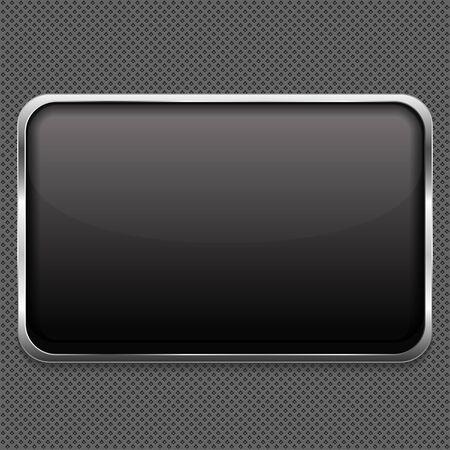cromo: Marco en blanco sobre fondo de metal Vectores
