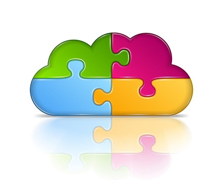 Cloud made of puzzle pieces Vector