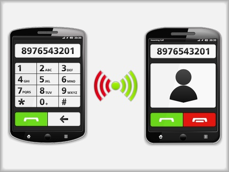 calling on phone: Two modern mobile phones Illustration