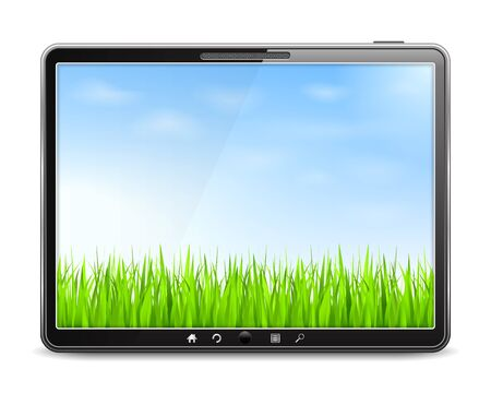 Tablet computer with blue sky and green grass on the screen Stock Vector - 17389132