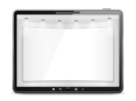 Tablet computer with blank banner on the screen Stock Vector - 17389094