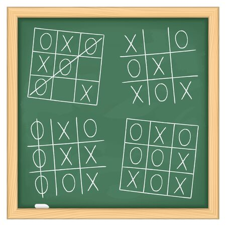 Tic tac toe game on blackboard Vector