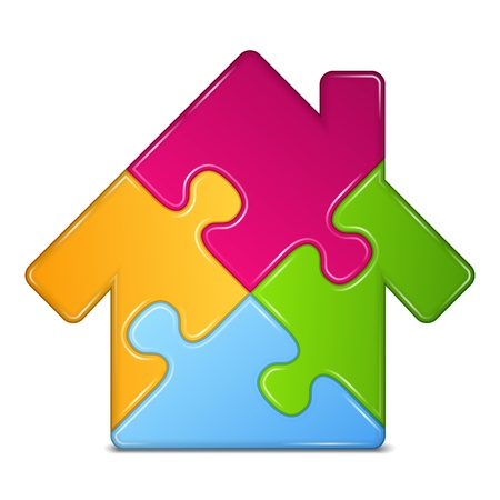 Abstract puzzle house icon Vector