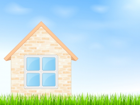 House on a blue sky background Stock Vector - 17602236