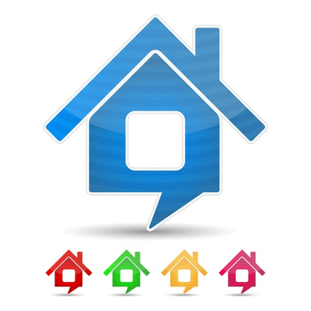 house icon: Abstract house icon shaped as speech bubble