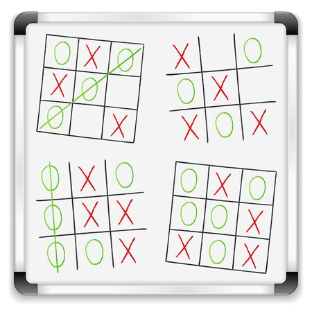 Tic tac toe game on a whiteboard Vector