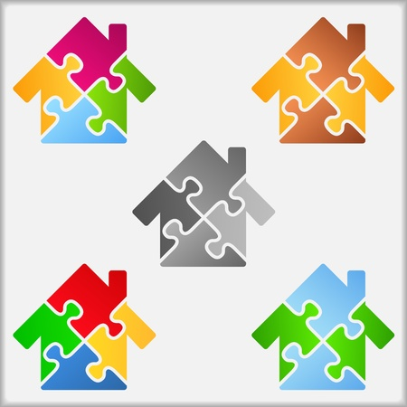 Abstract house made of puzzle pieces Vector