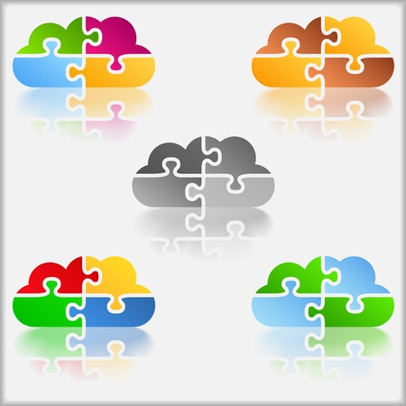 Abstract cloud made of puzzle pieces Vector