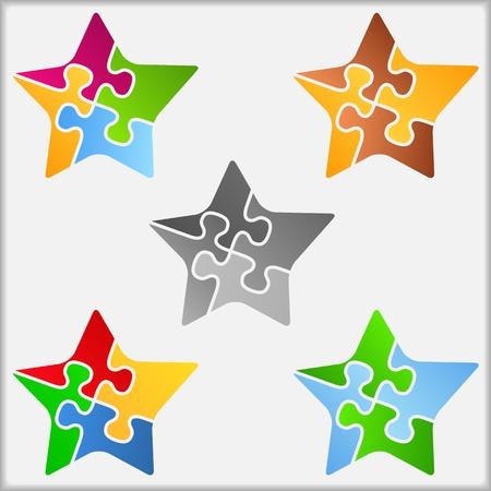 puzzle pieces: Stern aus Puzzleteilen