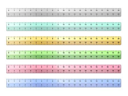 ruler: Set of plastic rulers on white background