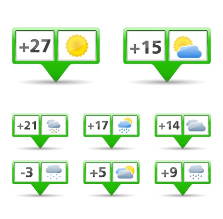 Set of icons for weather forecast Stock Vector - 17872745