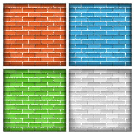 Old brick wall, four different colors Stock Vector - 17872988