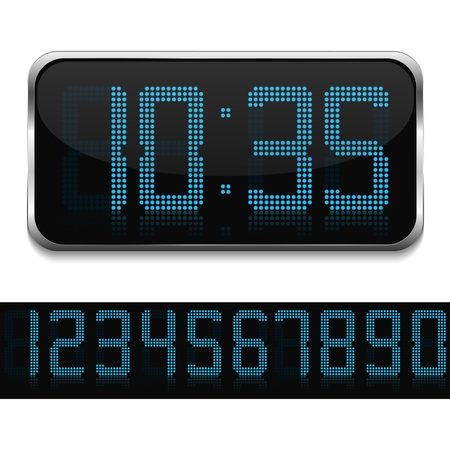 Blue Digital Clock Stock Vector - 17872962