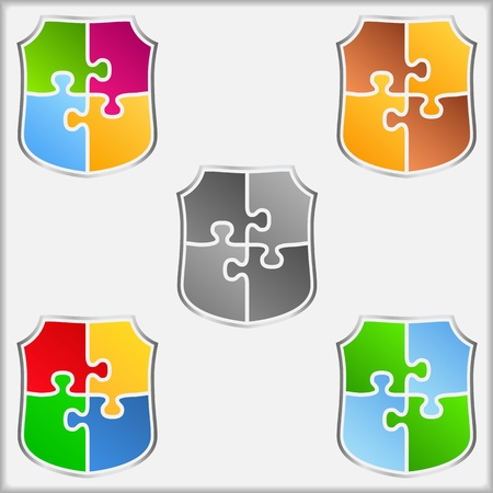 safety: Abstract shields made of puzzle pieces Illustration