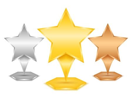 golde: Golde, silver and bronze stars Illustration