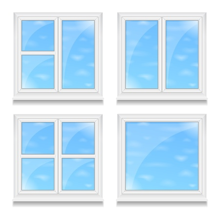 window sill: Set of different windows with blue sky