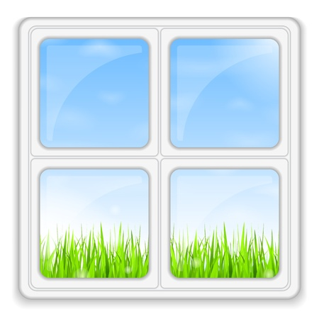 Green grass and blue sky behind the window Vector