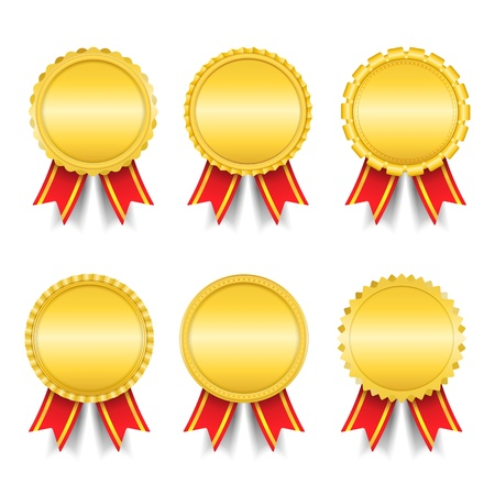 Set of different golden medals Vector